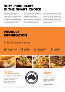 Anita Cheese Sauce Info Flyer