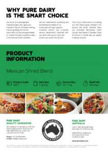 Mexican Shredded Blended Cheese Info Flyer