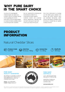 Natural Cheddar Cheese Slices Information Flyer